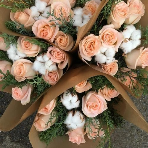roses Tiffany et coton