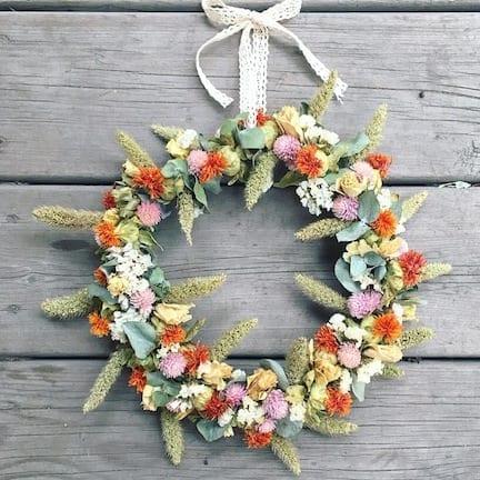 couronne fleurs séchées orangé