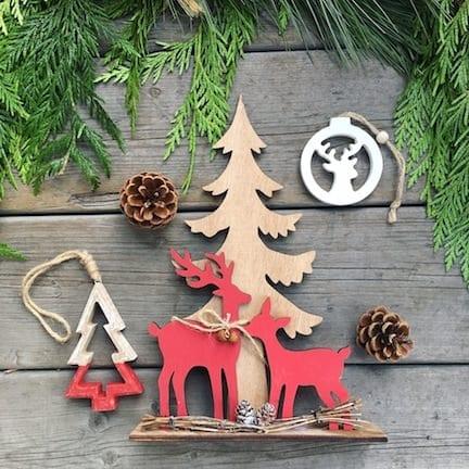 sapin bois deux rennes de Noël