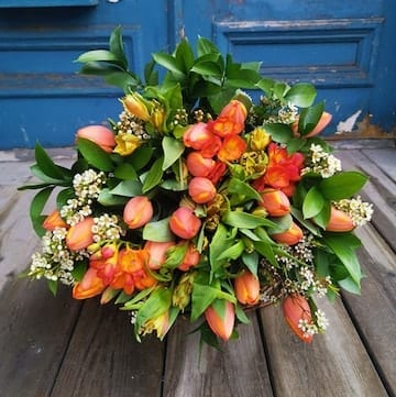 tulipes orages, tulipes oranges et wax